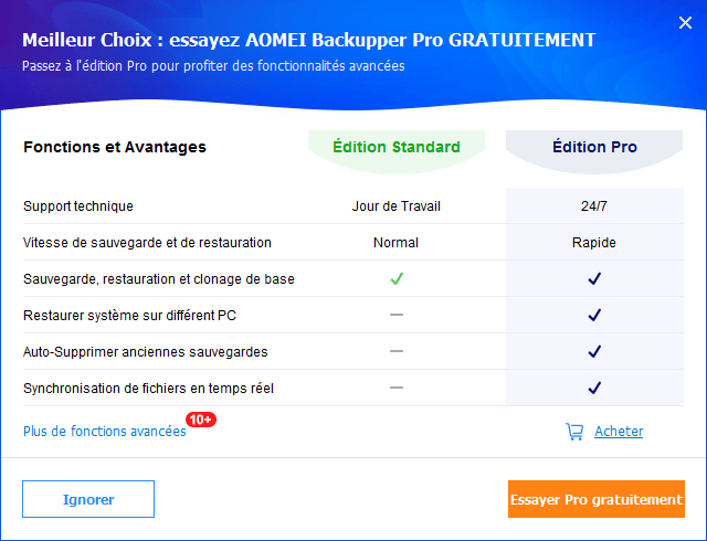 versions gratuite et payantes